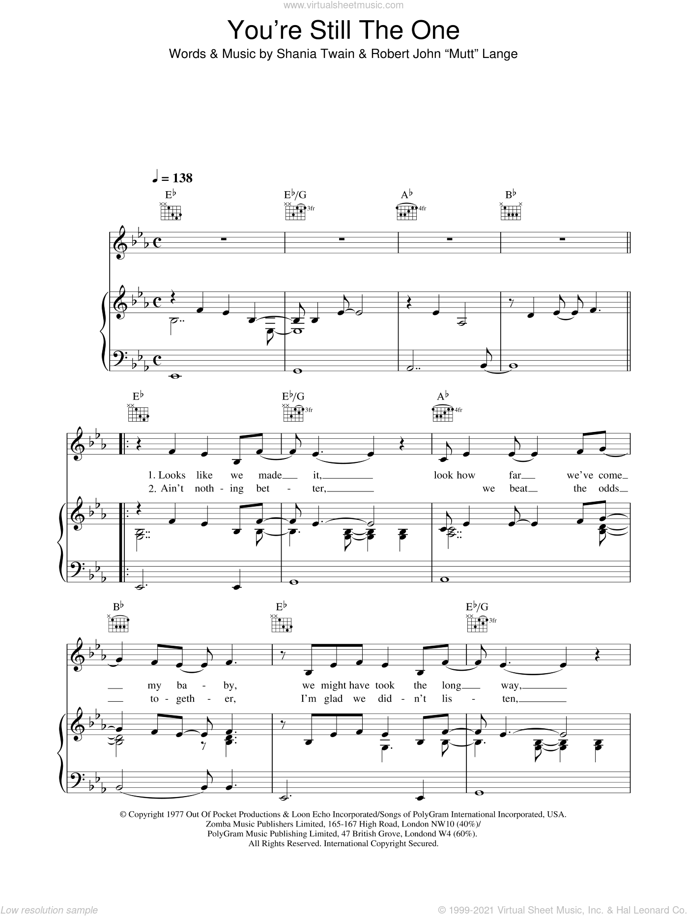 You're Still The One sheet music for voice, piano or guitar by Robert John Lange and Shania Twain. Score Image Preview.