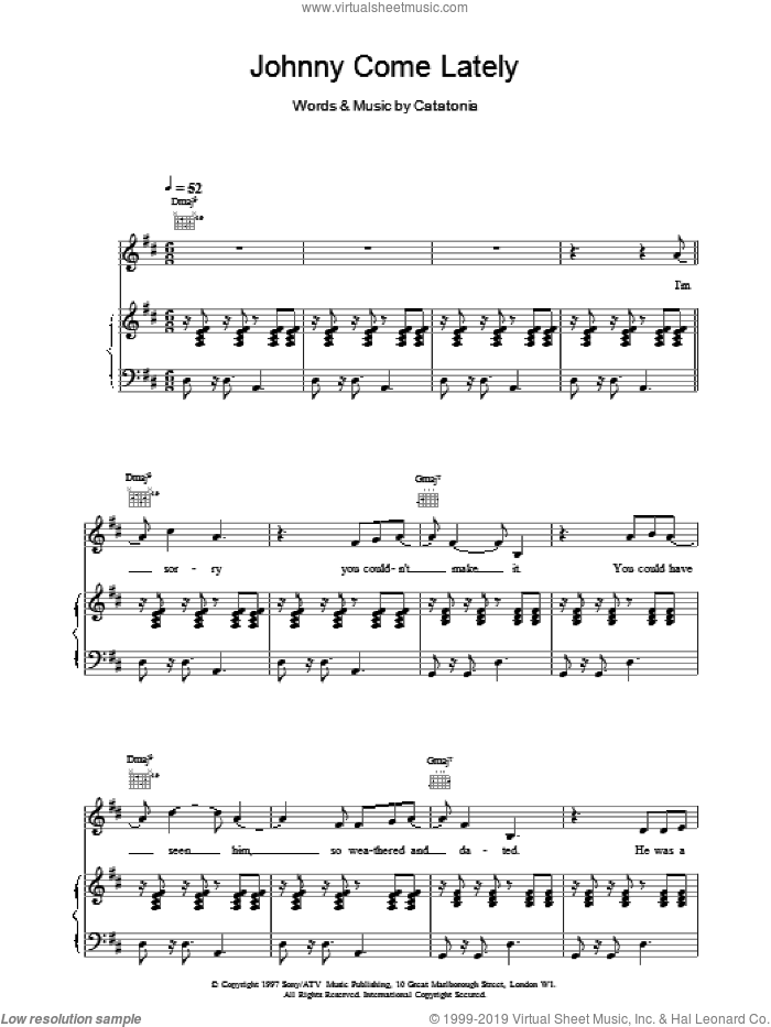 Johnny Come Lately sheet music for voice, piano or guitar by Catatonia, intermediate skill level