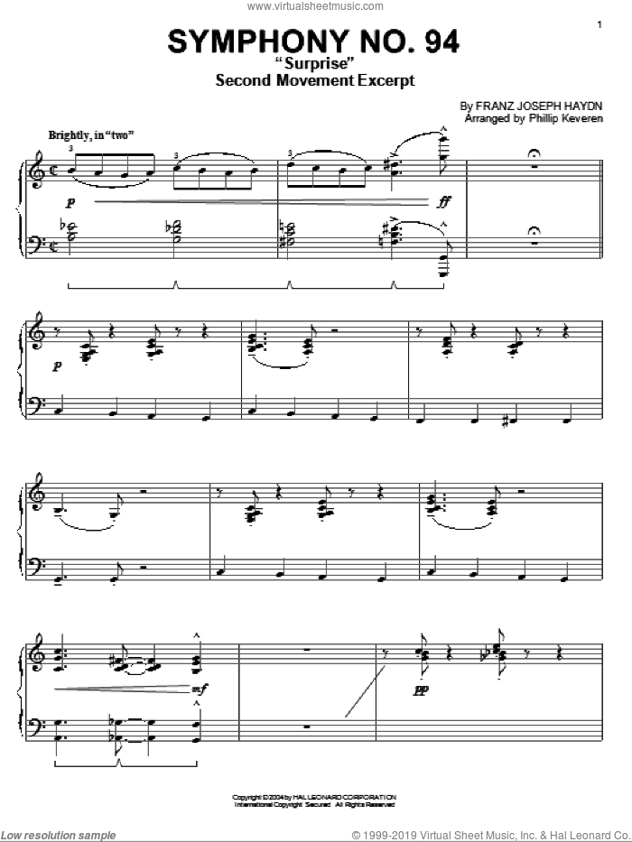 The Surprise Symphony, (intermediate) sheet music for piano solo by Franz Joseph Haydn and Phillip Keveren, classical score, intermediate skill level