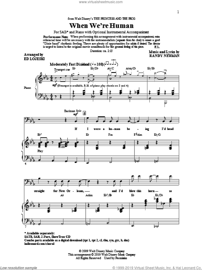 When We're Human (from The Princess And The Frog) sheet music for choir (SAB: soprano, alto, bass) by Randy Newman and Ed Lojeski, intermediate skill level