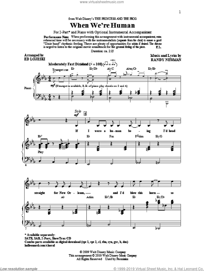 When We're Human (from The Princess And The Frog) sheet music for choir (2-Part) by Randy Newman and Ed Lojeski, intermediate duet. Score Image Preview.