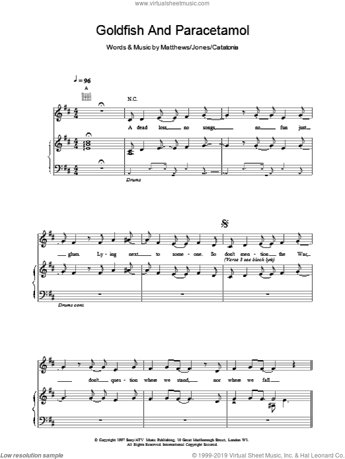 Goldfish And Paracetamol sheet music for voice, piano or guitar by Catatonia