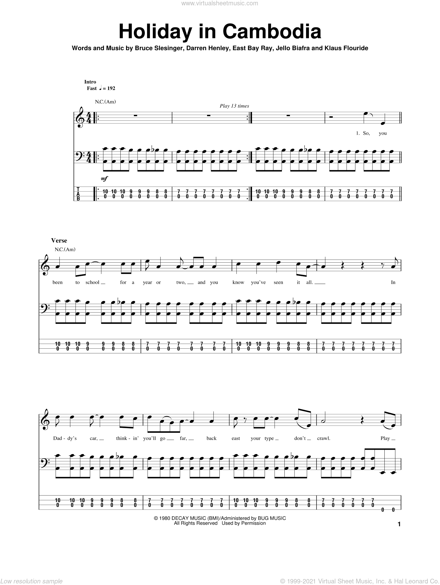 Holiday In Cambodia sheet music for bass (tablature) (bass guitar) by Dead Kennedys