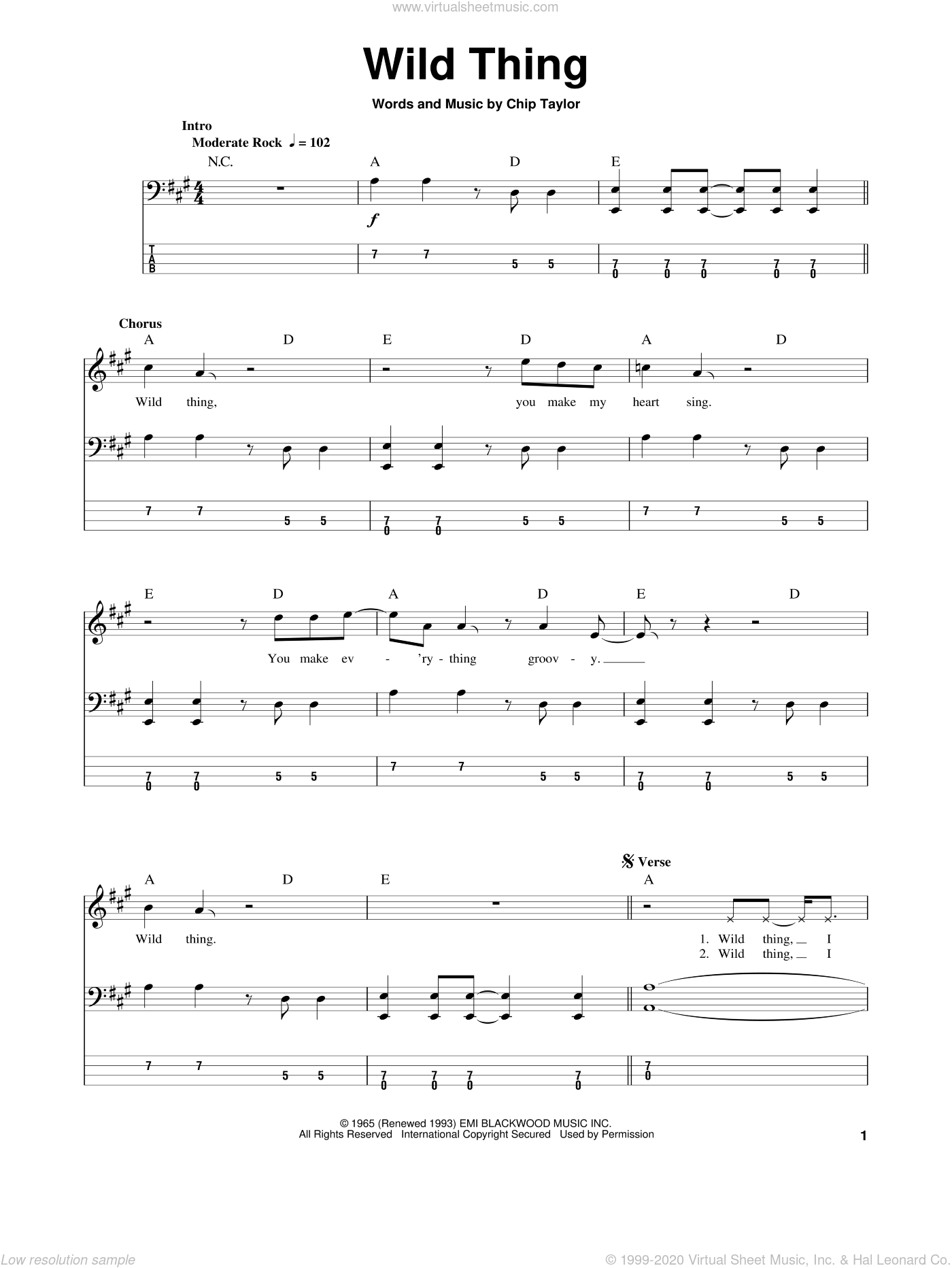Wild Thing sheet music for bass (tablature) (bass guitar) by Chip Taylor