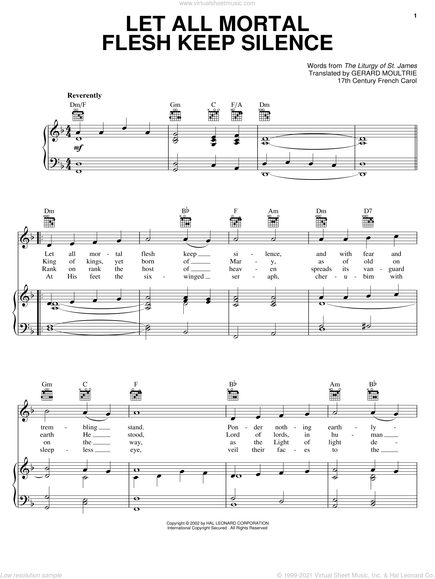 Let All Mortal Flesh Keep Silence sheet music for voice, piano or guitar by Anonymous, Gerard Moultrie, Liturgy Of St. James and Miscellaneous, classical score, intermediate skill level