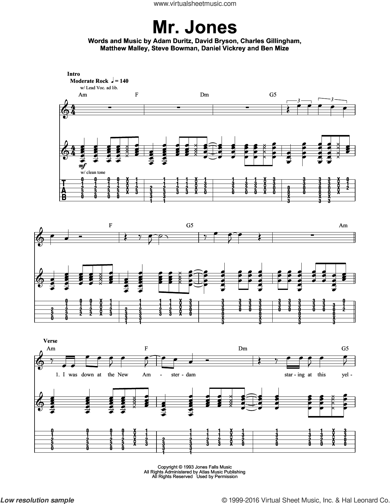 Mr. Jones sheet music for guitar (tablature, play-along) by David Bryson, Counting Crows and Adam Duritz. Score Image Preview.