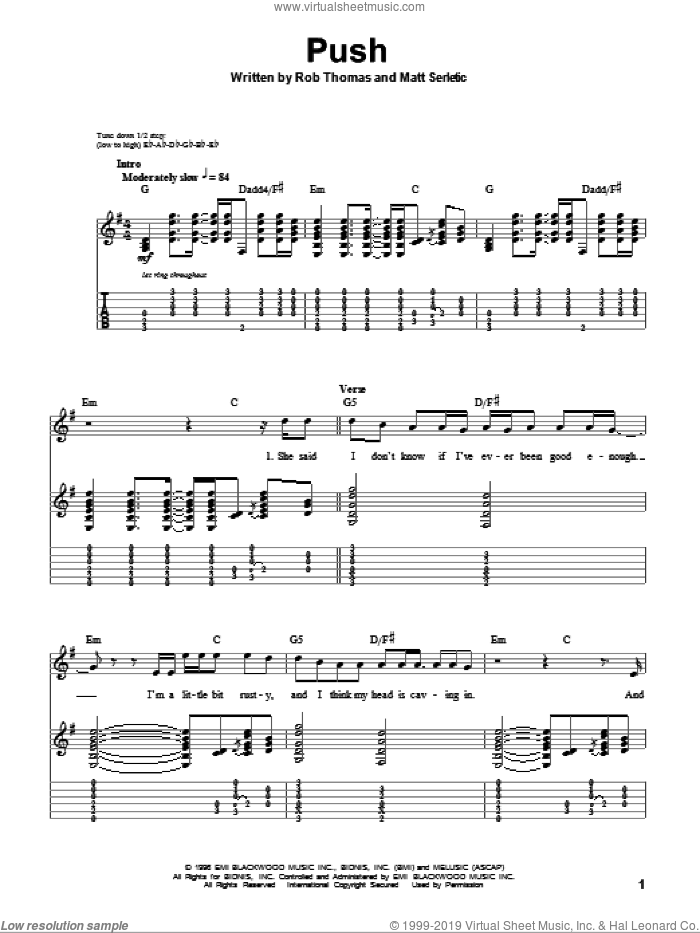 Push sheet music for guitar (tablature, play-along) by Matchbox Twenty, Matchbox 20, Matt Serletic and Rob Thomas, intermediate skill level