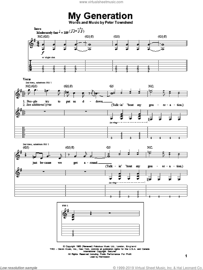 My Generation sheet music for guitar (tablature, play-along) by Pete Townshend and The Who. Score Image Preview.