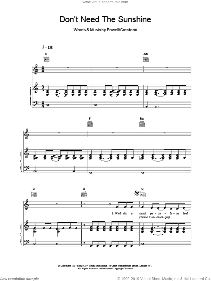 Don't Need The Sunshine sheet music for voice, piano or guitar by Catatonia, intermediate. Score Image Preview.