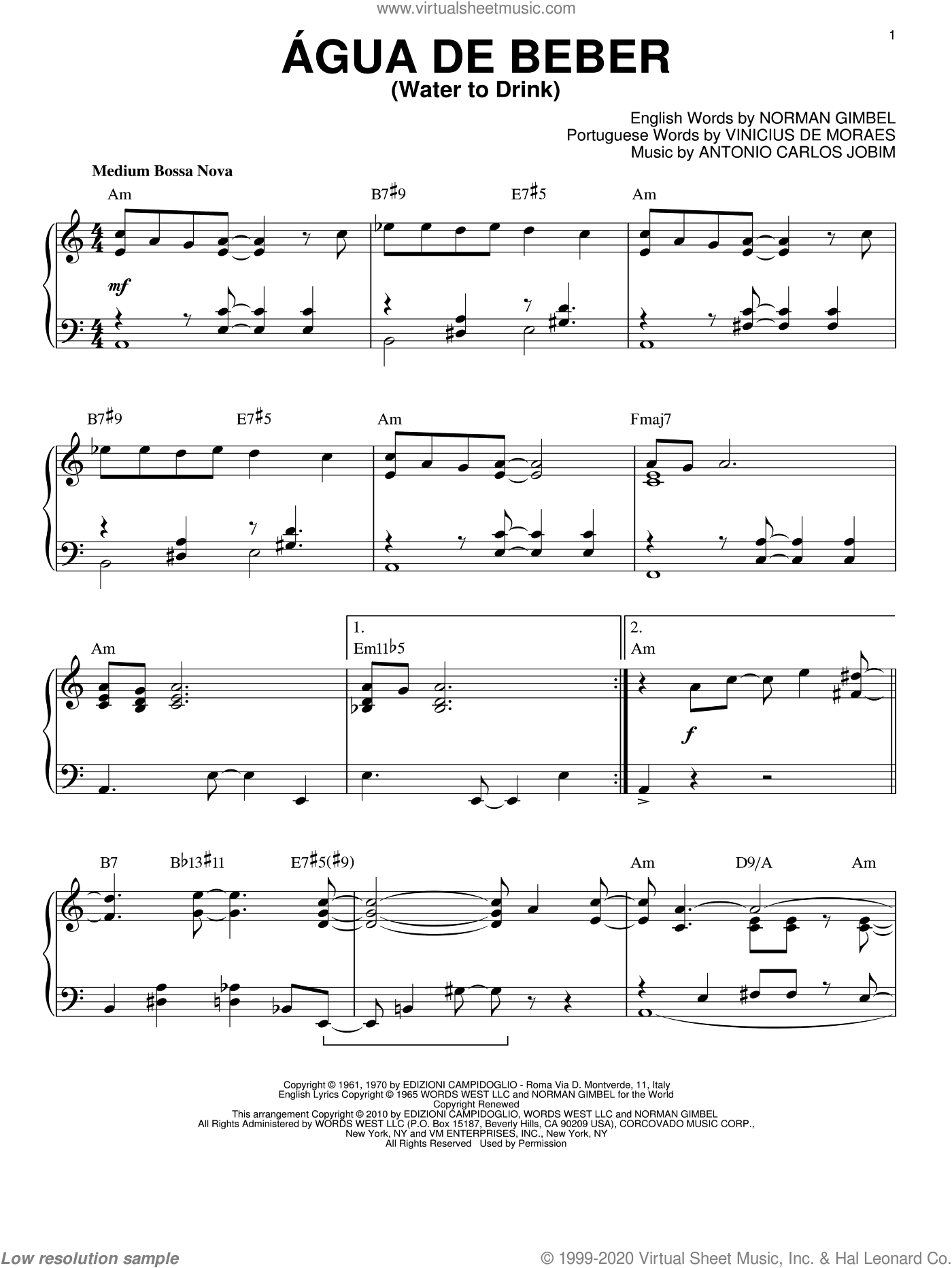 Agua De Beber (Water To Drink) sheet music for piano solo by Antonio Carlos Jobim, Norman Gimbel and Vinicius de Moraes, intermediate skill level