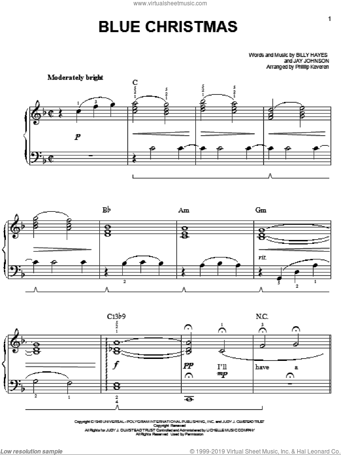 Blue Christmas sheet music for piano solo by Jay Johnson, Phillip Keveren, Elvis Presley and Billy Hayes. Score Image Preview.