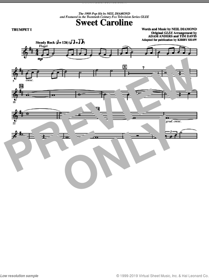 Sweet Caroline (Ed. Kirby Shaw) (complete set of parts) sheet music for orchestra/band by Kirby Shaw, Adam Anders, Glee Cast, Miscellaneous, Neil Diamond and Tim Davis, intermediate skill level