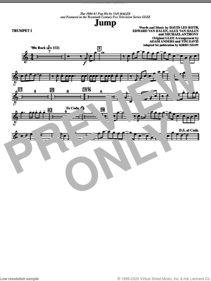 Jump (complete set of parts) sheet music for orchestra/band by Edward Van Halen, Alex Van Halen, David Lee Roth, Michael Anthony, Adam Anders, Glee Cast, Kirby Shaw, Miscellaneous and Tim Davis, intermediate skill level