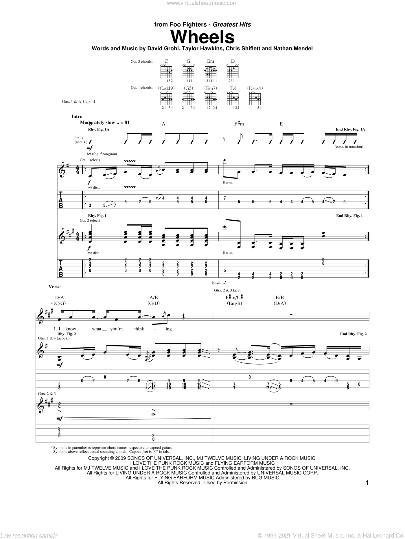 Wheels sheet music for guitar (tablature) by Foo Fighters. Score Image Preview.