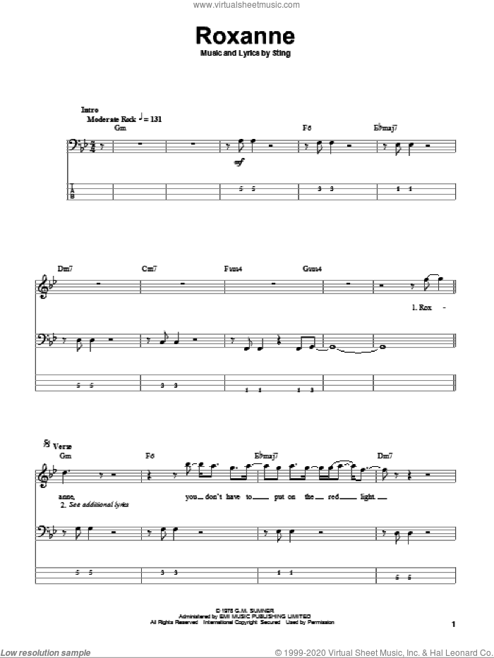Roxanne sheet music for bass (tablature) (bass guitar) by The Police and Sting, intermediate. Score Image Preview.