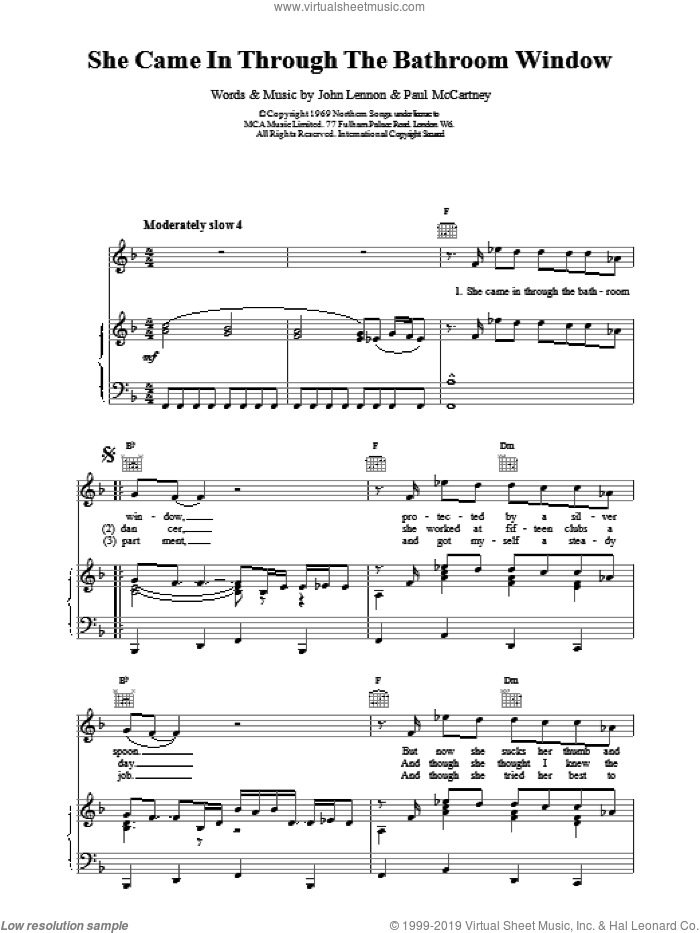 She Came In Through The Bathroom Window sheet music for voice, piano or guitar by The Beatles, intermediate skill level