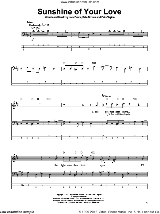 Sunshine Of Your Love sheet music for bass (tablature) (bass guitar) by Pete Brown, Cream, Eric Clapton and Jack Bruce. Score Image Preview.