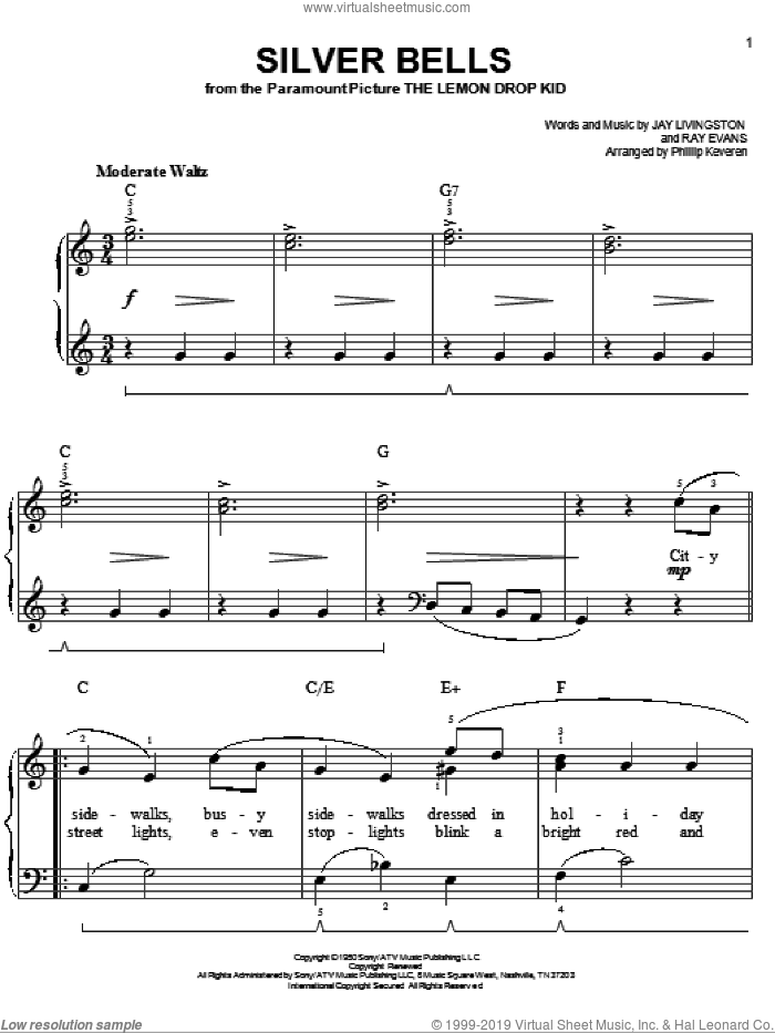Silver Bells sheet music for piano solo by Ray Evans, Phillip Keveren and Jay Livingston. Score Image Preview.