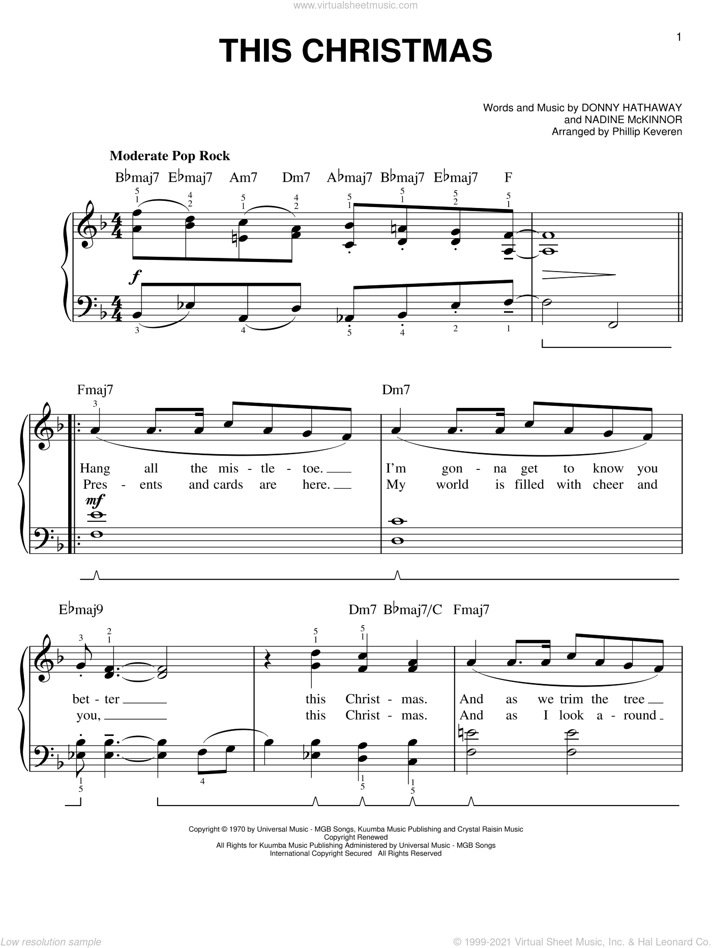 This Christmas sheet music for piano solo by Nadine McKinnor, Phillip Keveren and Donny Hathaway. Score Image Preview.