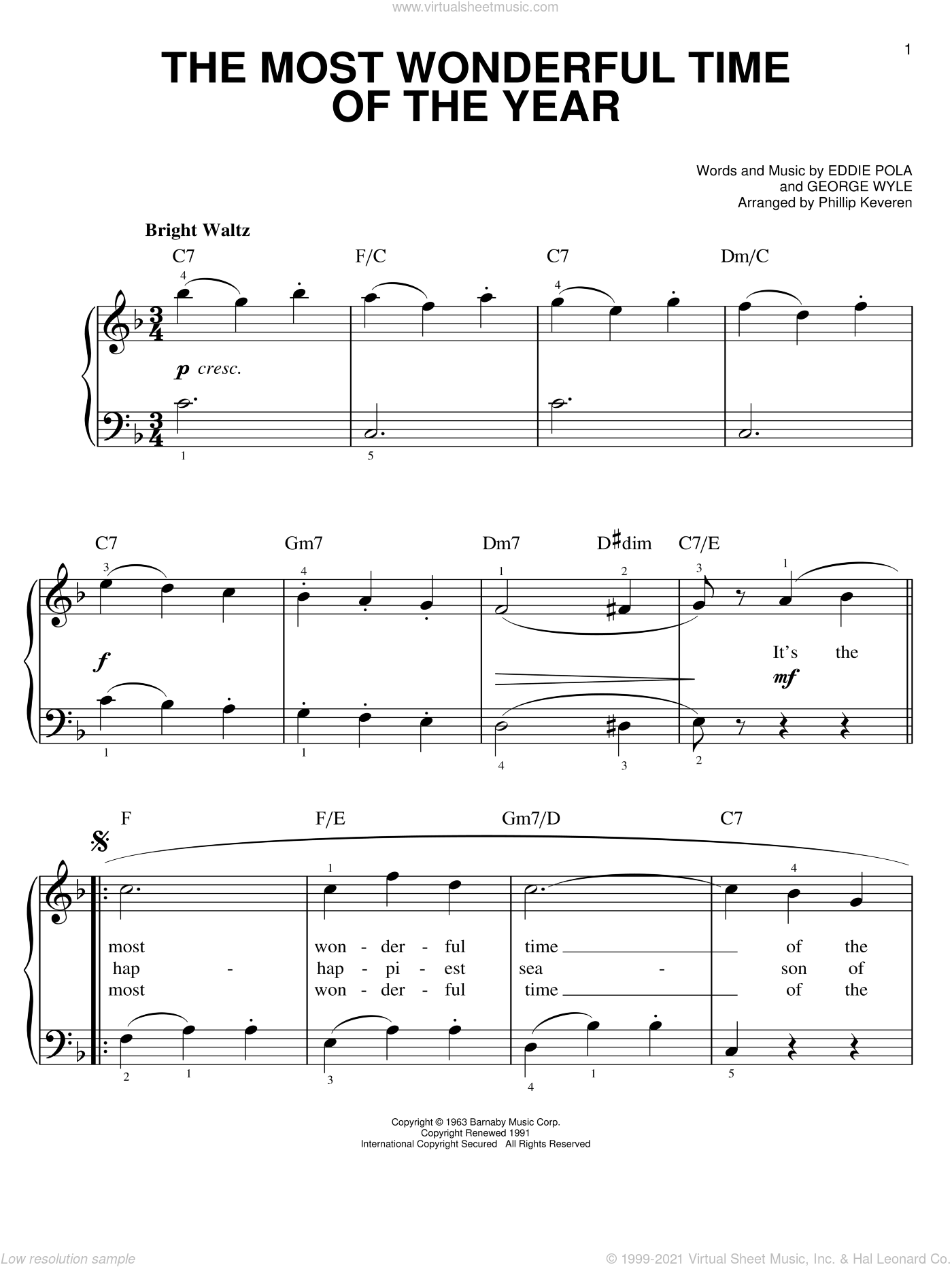 The Most Wonderful Time Of The Year sheet music for piano solo by Andy Williams, Phillip Keveren, Eddie Pola and George Wyle, easy skill level