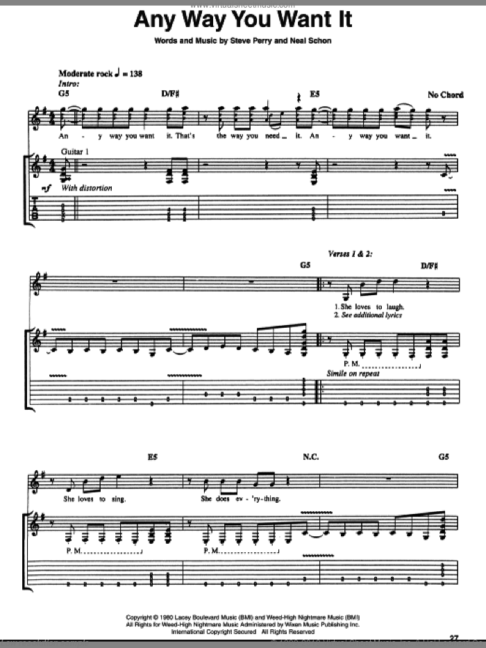 Any Way You Want It sheet music for guitar (tablature) by Steve Perry, Journey and Neal Schon