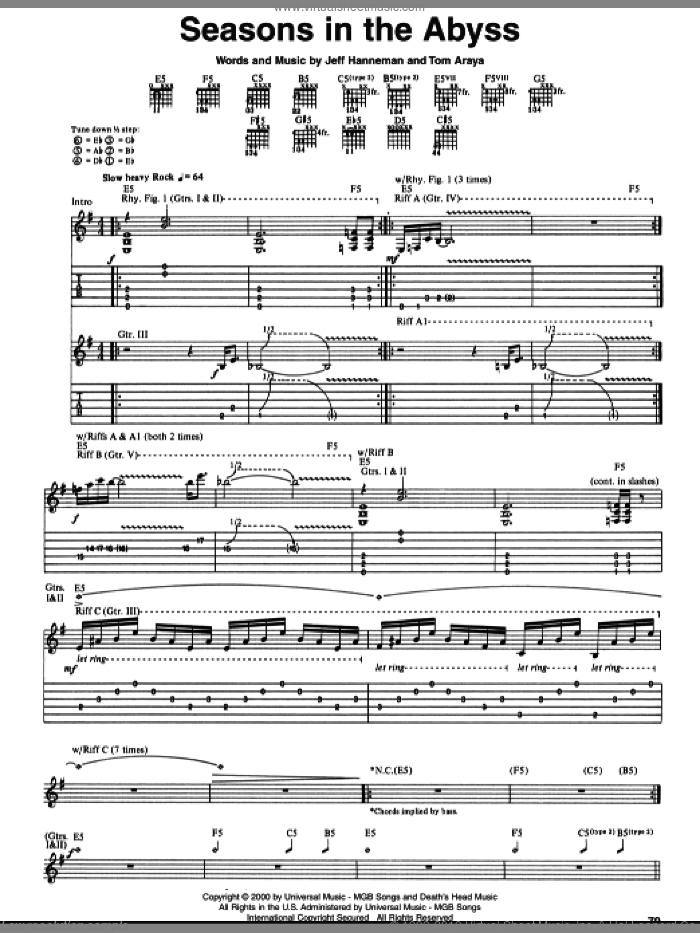 Seasons In The Abyss sheet music for guitar (tablature) by Tom Araya, Slayer and Jeff Hanneman