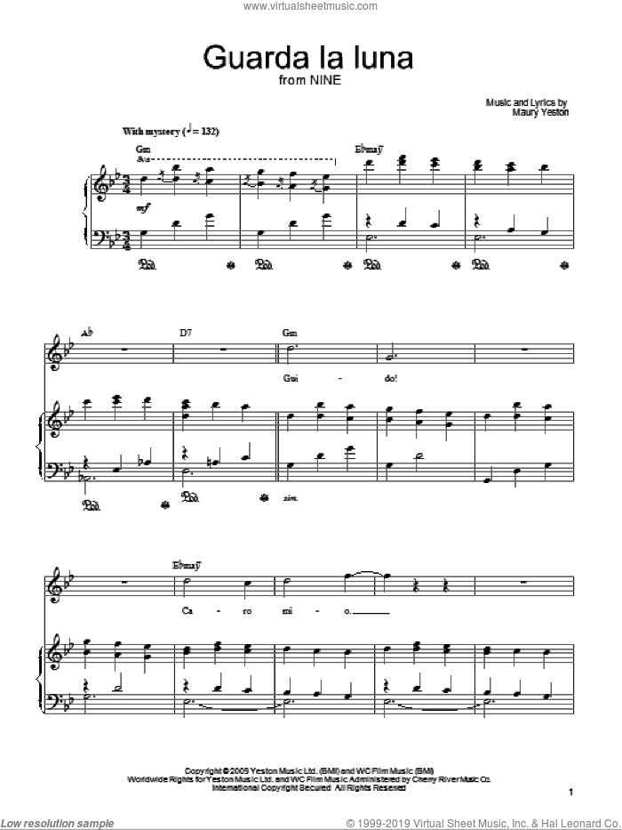 Guarda La Luna sheet music for voice, piano or guitar by Maury Yeston and Nine (Musical), intermediate skill level