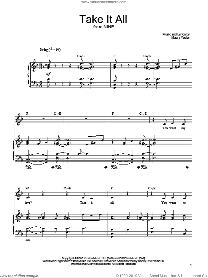 Take It All sheet music for voice, piano or guitar by Maury Yeston and Nine (Musical), intermediate skill level