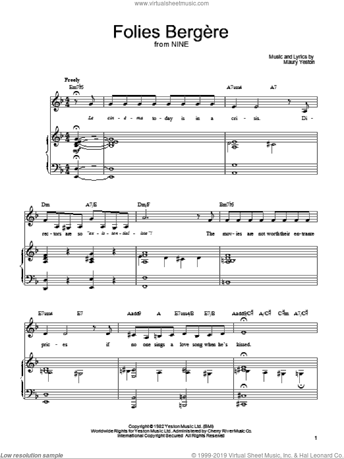 Folies Bergere sheet music for voice, piano or guitar by Maury Yeston and Nine (Musical), intermediate skill level