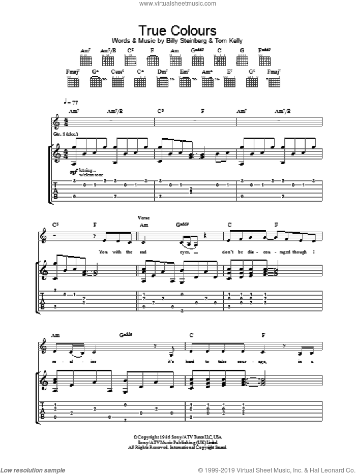 True Colours sheet music for guitar (tablature) by Billy Steinberg and Eva Cassidy. Score Image Preview.