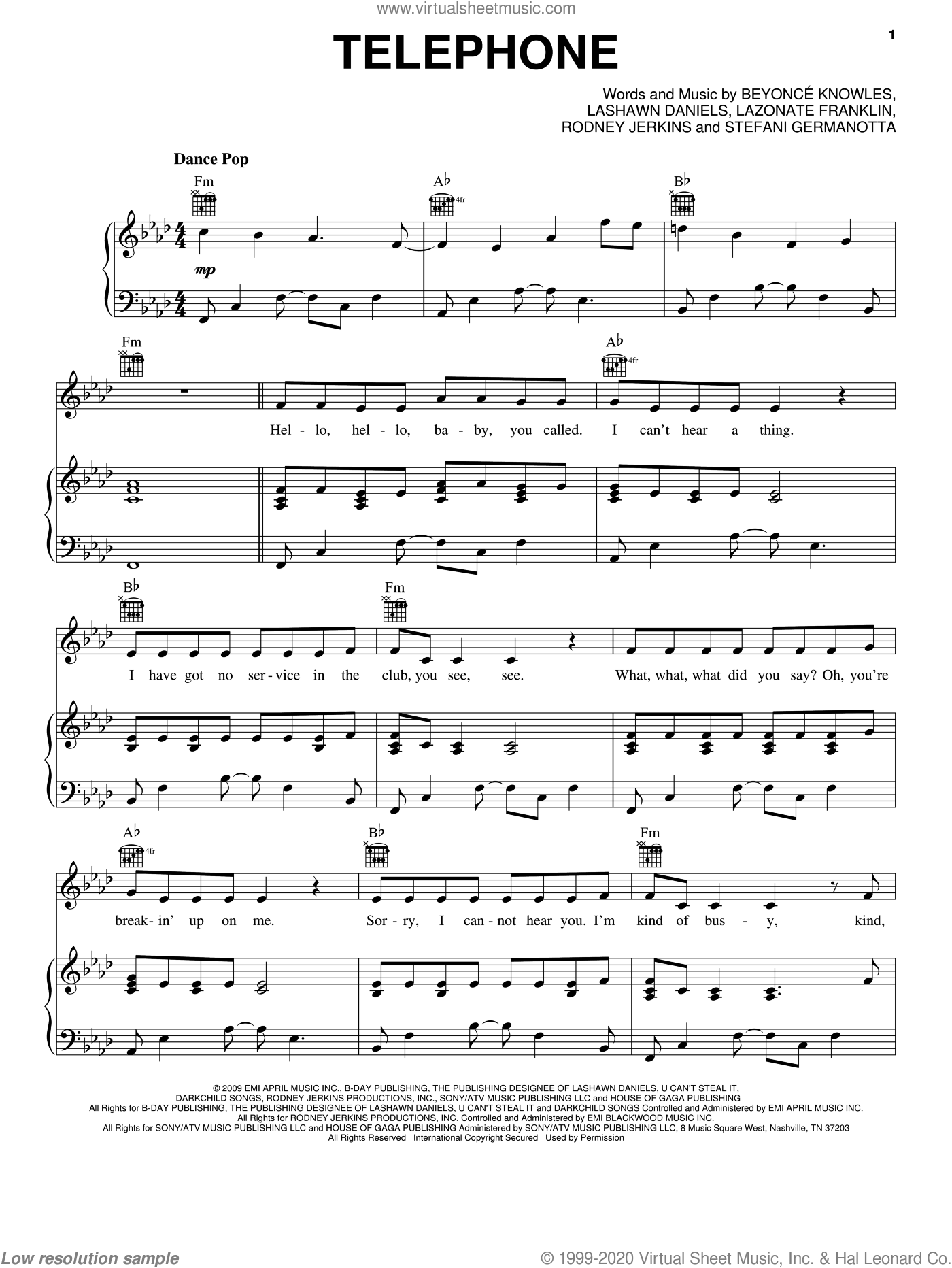 Telephone sheet music for voice, piano or guitar by Lady Gaga, Beyonce, Beyonce Knowles, LaShawn Daniels and Rodney Jerkins. Score Image Preview.