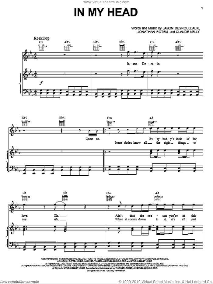 In My Head sheet music for voice, piano or guitar by Jonathan Rotem, Jason Derulo, Claude Kelly and Jason Desrouleaux. Score Image Preview.