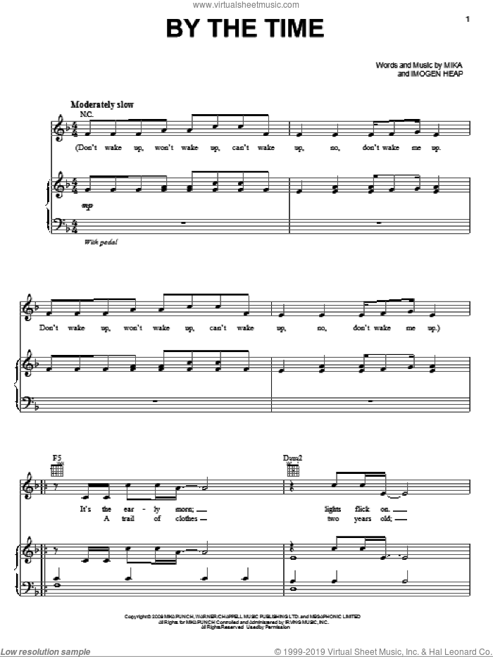 By The Time sheet music for voice, piano or guitar by Mika and Imogen Heap. Score Image Preview.