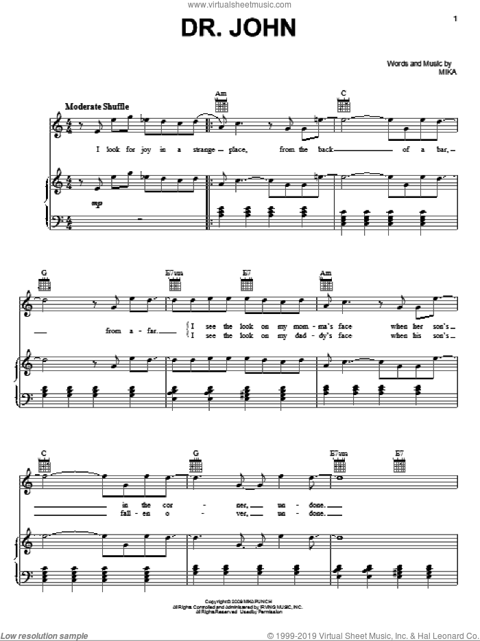 Dr. John sheet music for voice, piano or guitar by Mika. Score Image Preview.