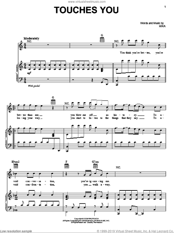Touches You sheet music for voice, piano or guitar by Mika, intermediate skill level