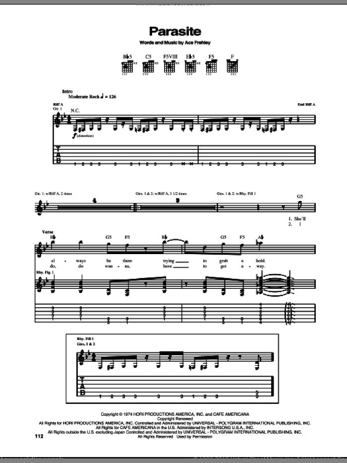 Parasite sheet music for guitar (tablature) by Ace Frehley