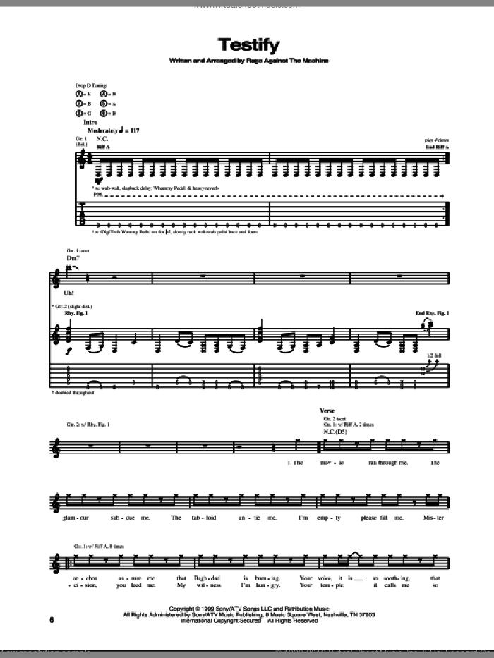 Testify sheet music for guitar (tablature) by Rage Against The Machine. Score Image Preview.