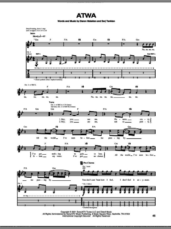 ATWA sheet music for guitar (tablature) by Serj Tankian and System Of A Down. Score Image Preview.