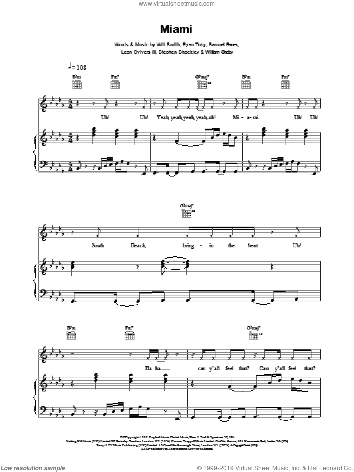 Miami sheet music for voice, piano or guitar by Will Smith, BARNES, Ryan Toby and Smith, intermediate skill level