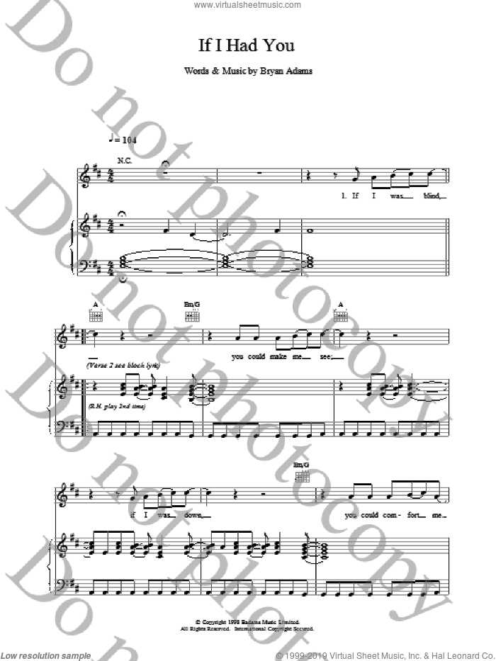If I Had You sheet music for voice, piano or guitar by Bryan Adams