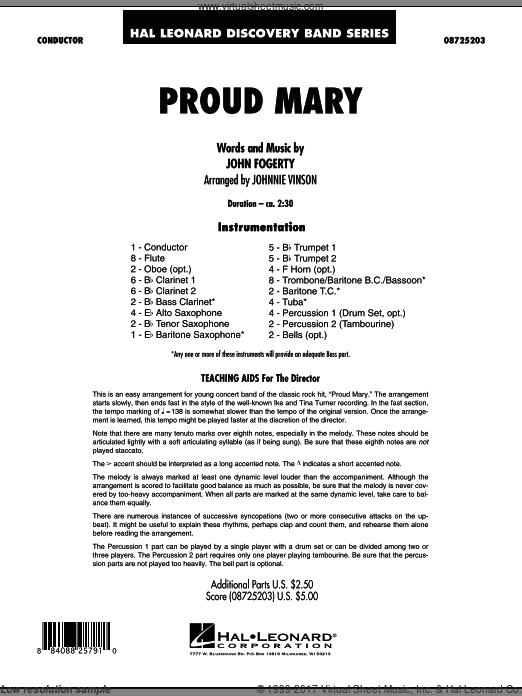 Proud Mary (COMPLETE) sheet music for concert band by John Fogerty