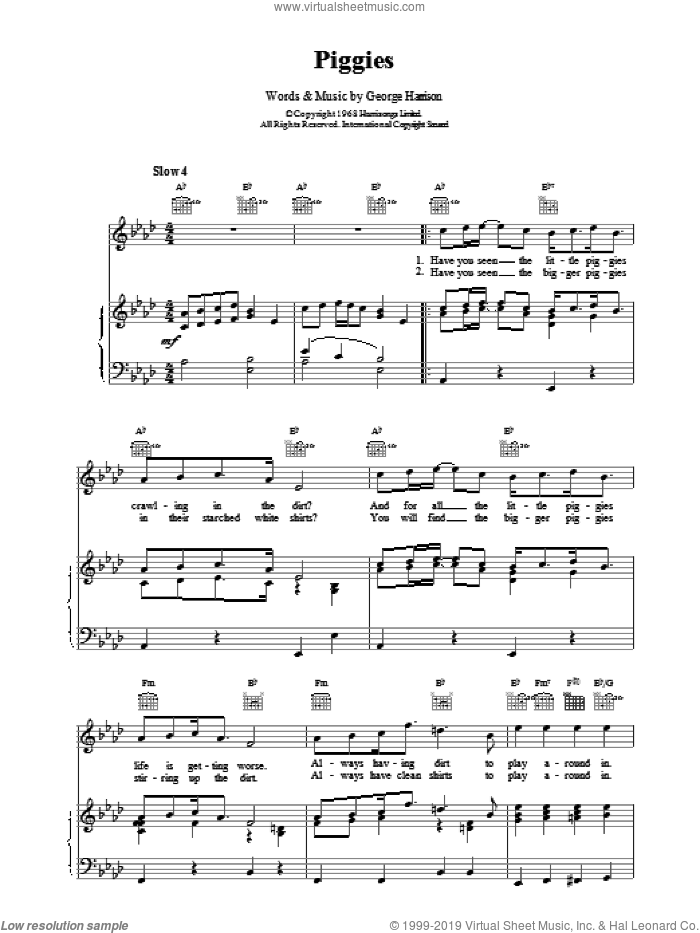 Piggies sheet music for voice, piano or guitar by The Beatles and Paul McCartney, intermediate voice, piano or guitar. Score Image Preview.