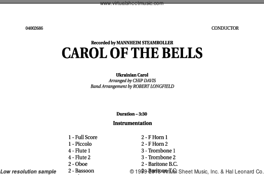 Carol Of The Bells (COMPLETE) sheet music for concert band , Chip Davis, Mannheim Steamroller and Robert Longfield. Score Image Preview.