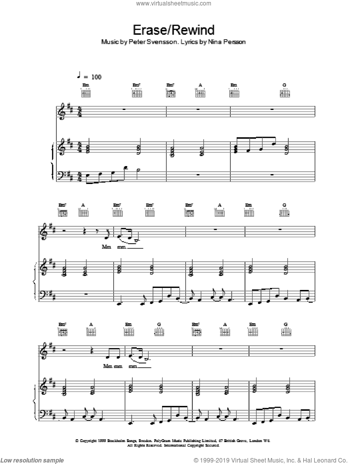 Erase / Rewind sheet music for voice, piano or guitar by Peter Svensson, The Cardigans and NINA PERSSON. Score Image Preview.