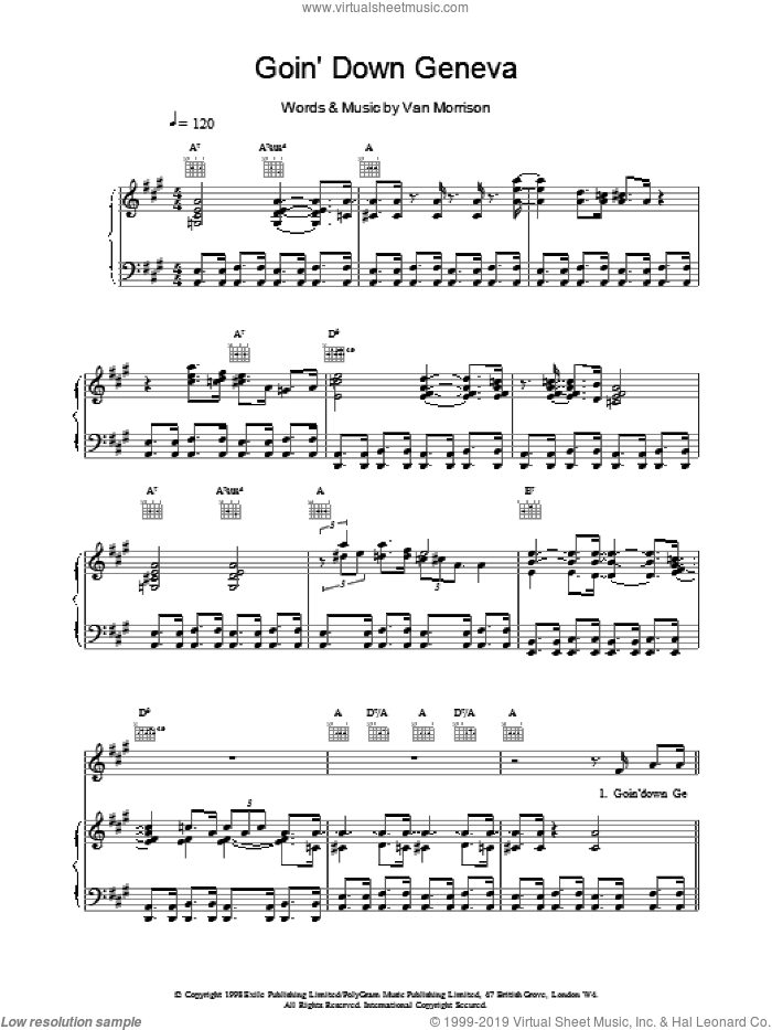 Goin' Down Geneva sheet music for voice, piano or guitar by Van Morrison, intermediate. Score Image Preview.