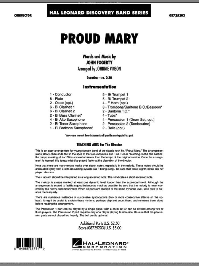 Proud Mary (COMPLETE) sheet music for concert band by Johnnie Vinson, Creedence Clearwater Revival and Ike & Tina Turner, intermediate. Score Image Preview.