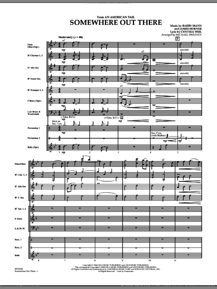 Somewhere Out There (from An American Tail) (COMPLETE) sheet music for concert band by James Horner, Barry Mann, Cynthia Weil and Michael Sweeney, intermediate skill level