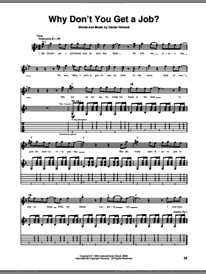 Why Don't You Get A Job? sheet music for guitar (tablature) by Dexter Holland