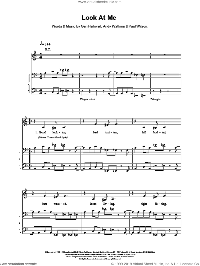 Look At Me sheet music for voice, piano or guitar by Geri Halliwell and WILSON, intermediate. Score Image Preview.