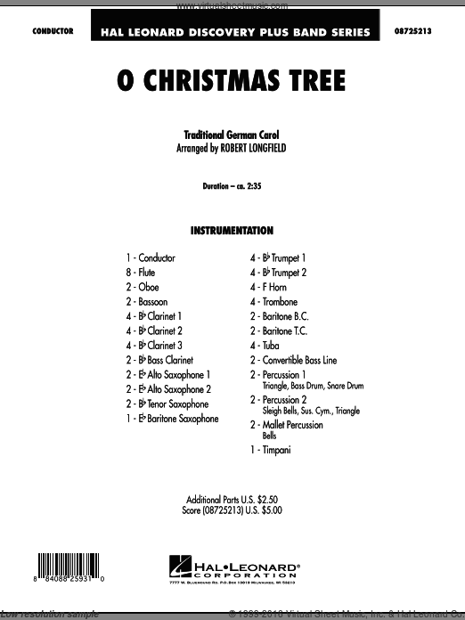 O Christmas Tree (COMPLETE) sheet music for concert band  and Robert Longfield. Score Image Preview.